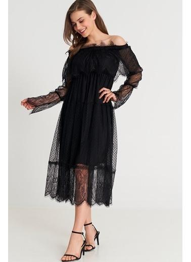 ESQ Madonna Yaka Tül Elbise Siyah